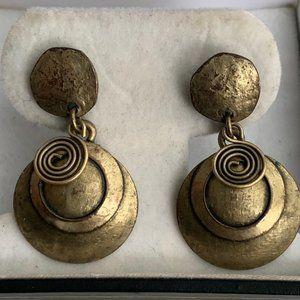 Vintage brass boho style earrings